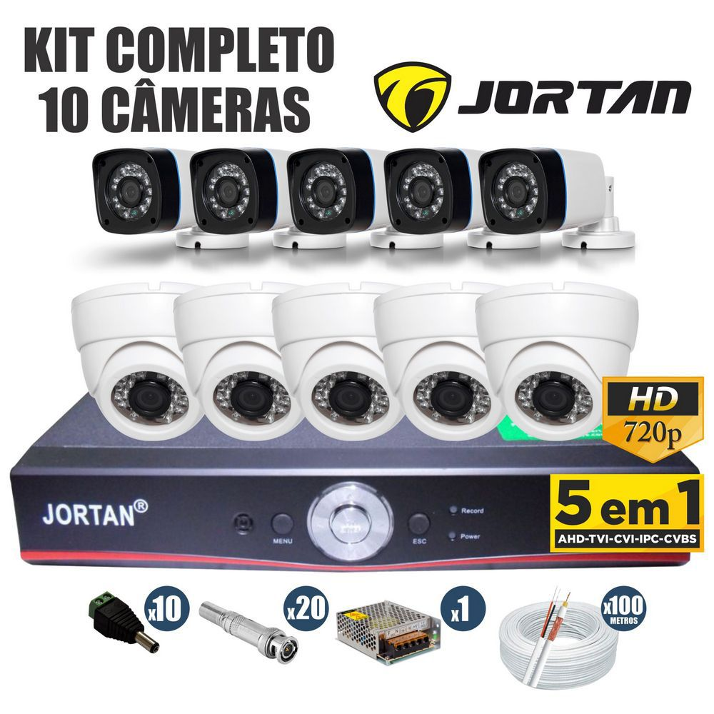 Kit CFTV Jortan Completo 10 Câmeras AHD 720p DVR 16 Canais