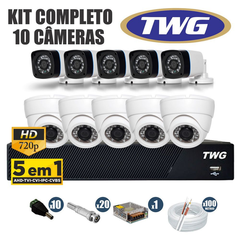Kit CFTV TWG Completo 10 Câmeras AHD 720p DVR 16 Canais