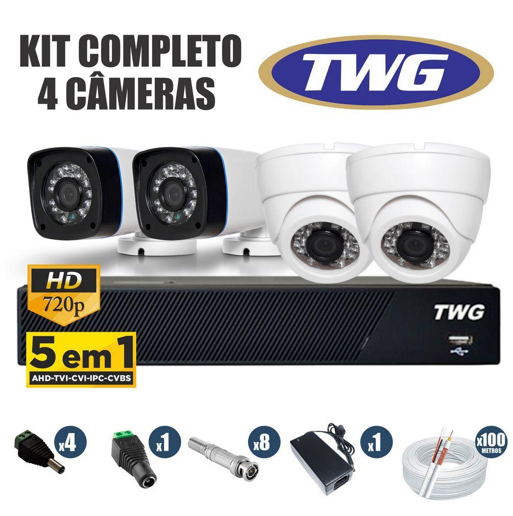 Kit CFTV TWG Completo 4 Câmeras AHD 720p DVR 4 Canais