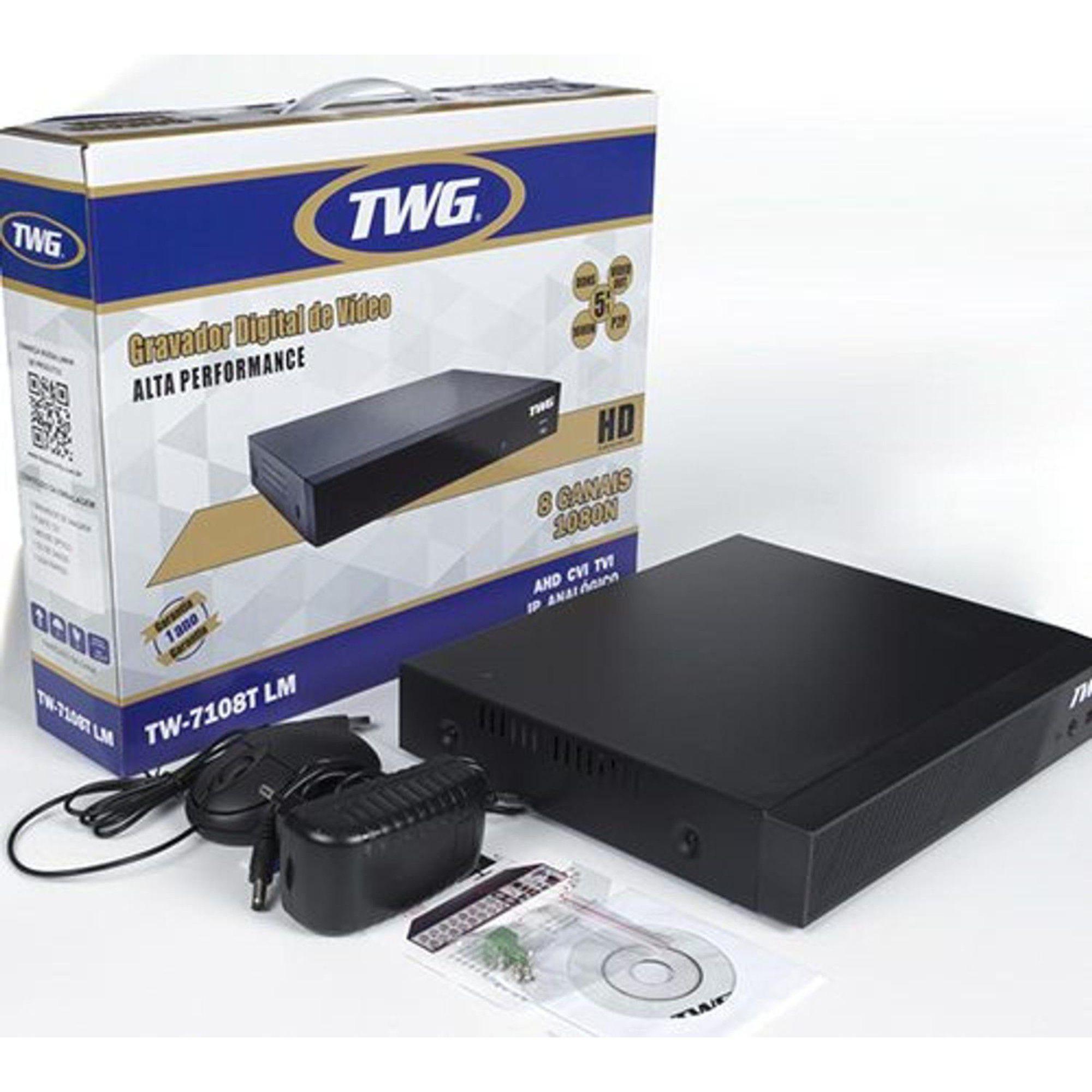 Kit CFTV TWG Completo 8 Câmeras AHD 720p DVR 8 Canais