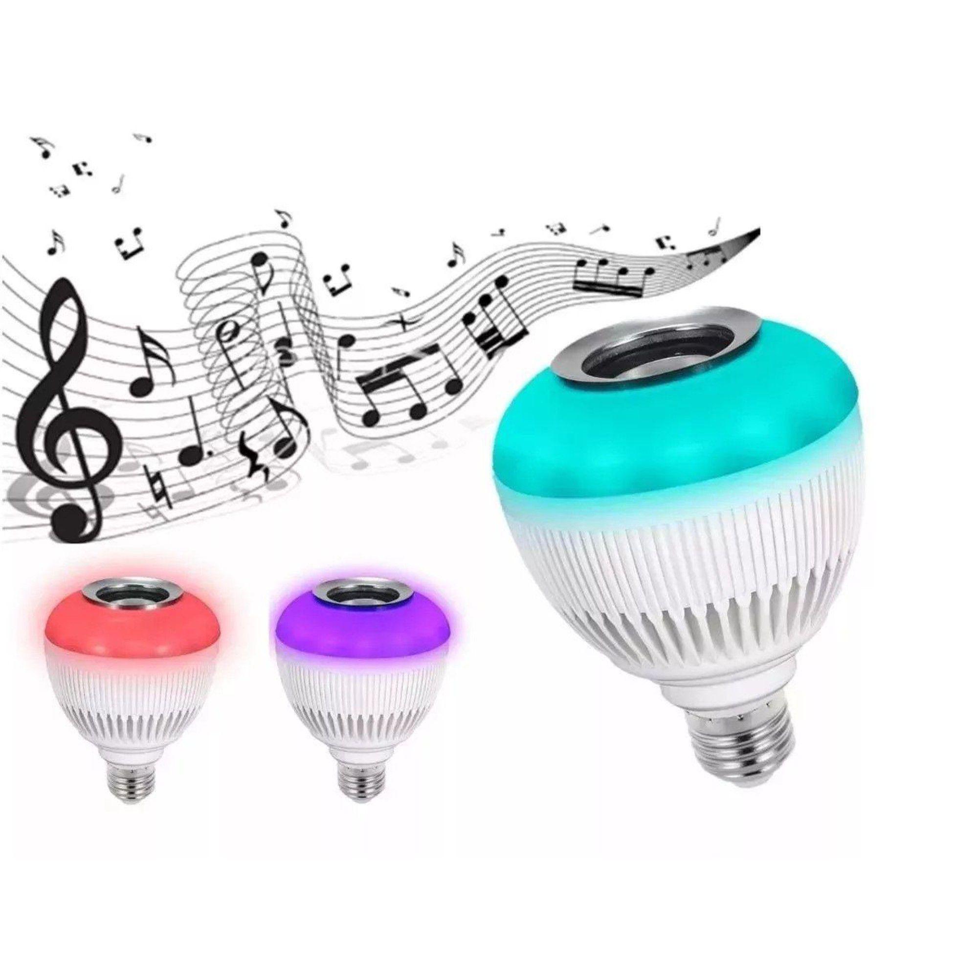 Lâmpada Luz Led Rgb Bluetooth Música Caixa Som