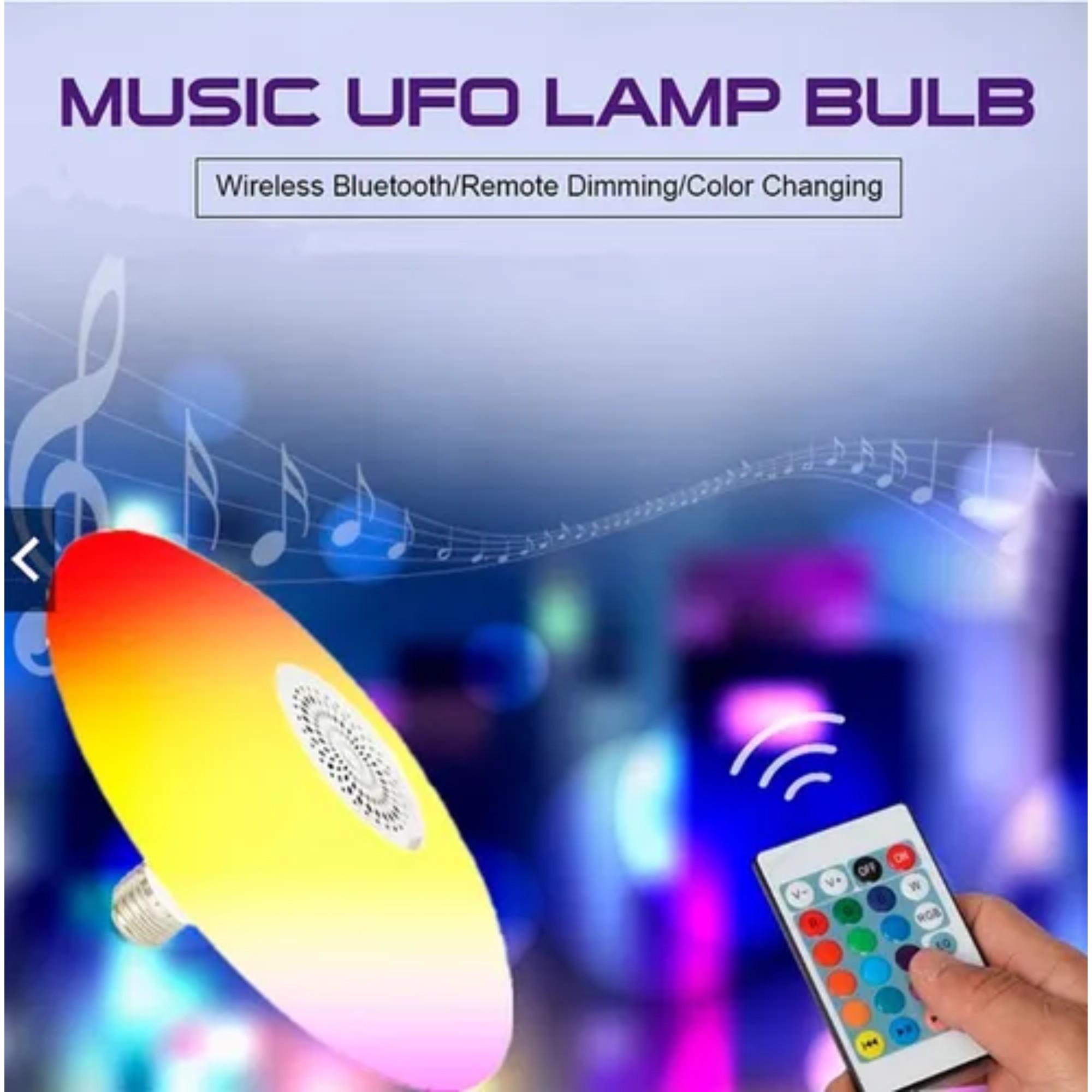 Lâmpada Musical Led RGB Colorido 48w Bluetooth C/ Controle
