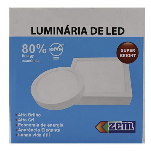 Luminária Painel Plafon Led 12w Quadrado Sobrepor Branco Frio