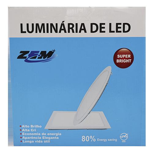 Luminária Painel Plafon Led 18w Quadrado Embutir Branco Frio Gesso Teto