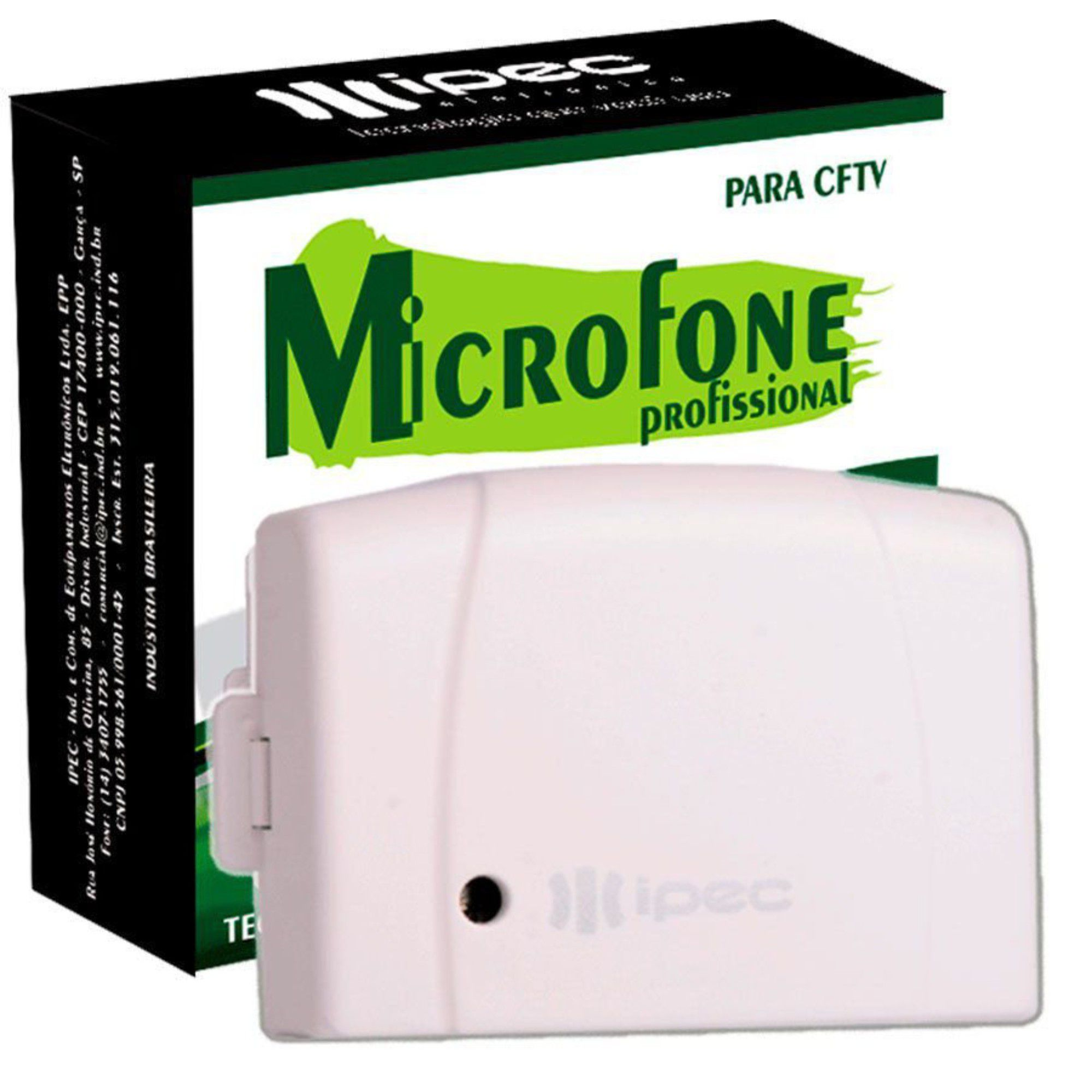 Microfone Amplicado Profissional P/ CFTV Ipec