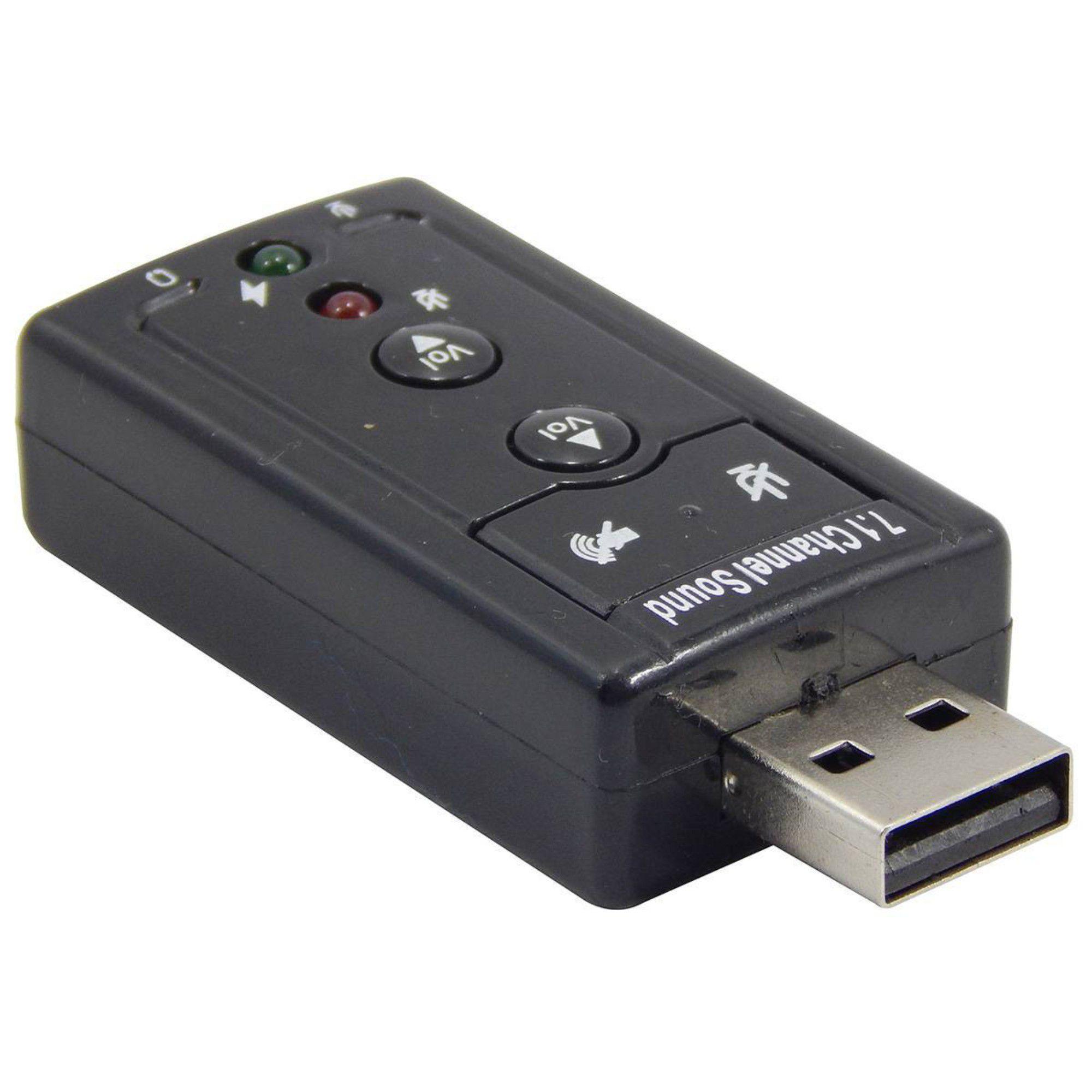 Placa De Som USB 7.1 Canais