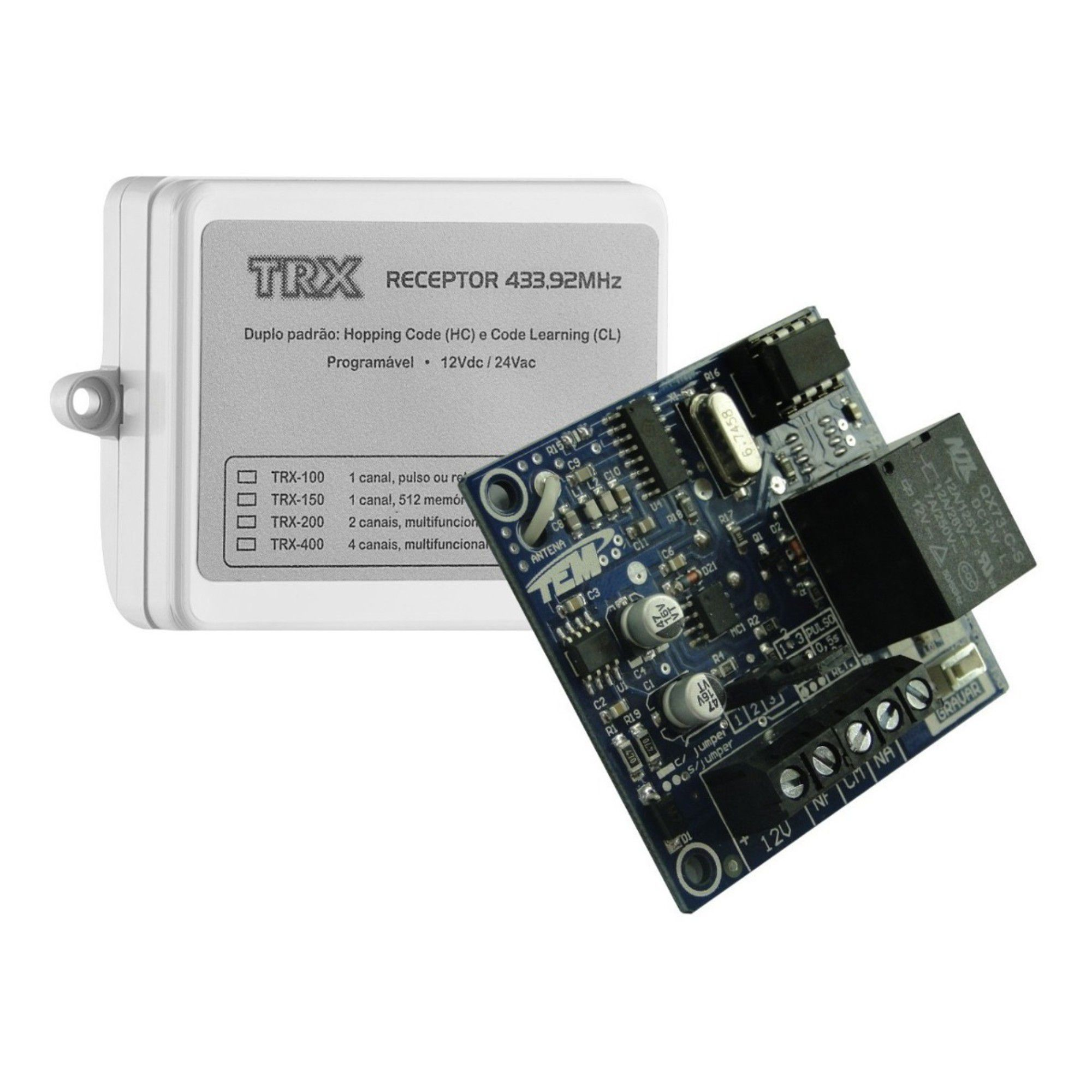 Receptor Programável 2 Canais TEM Trx-200 433 Mhz