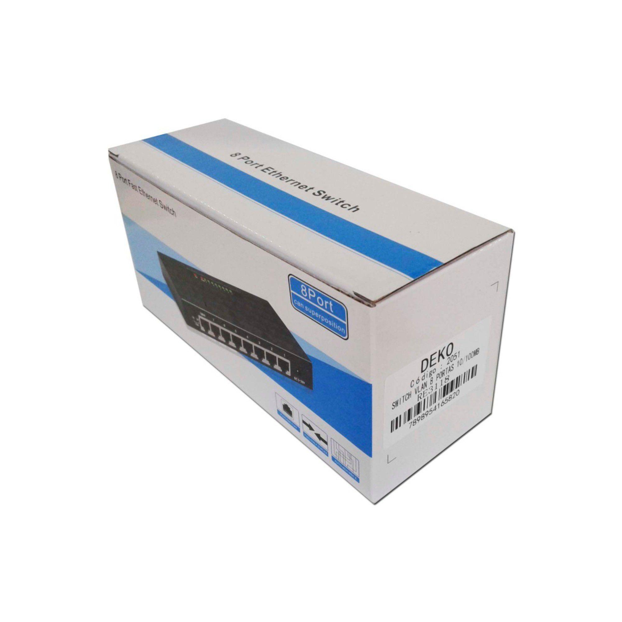 Switch 8 portas 10/100Mbps DEKO