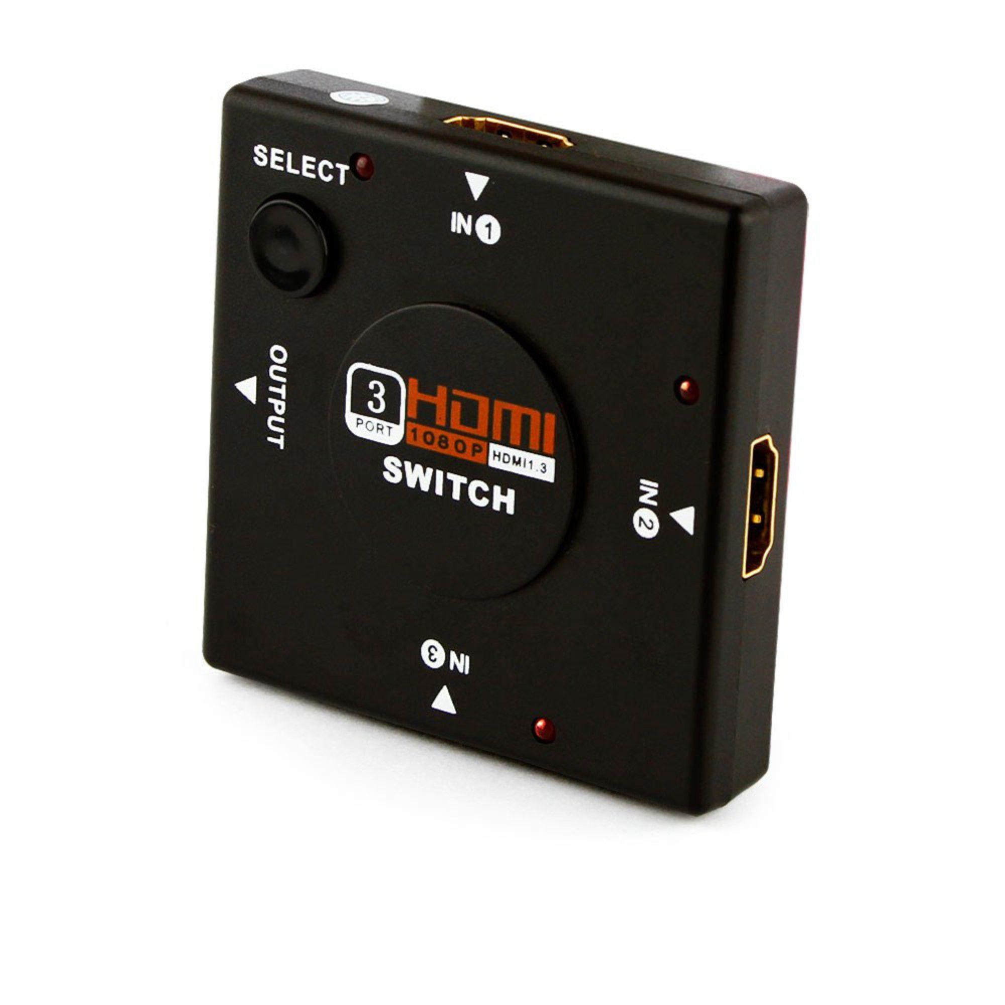 Switch HDMI 1 Entrada 3 Saidas 3D 4K Full HD 1080p