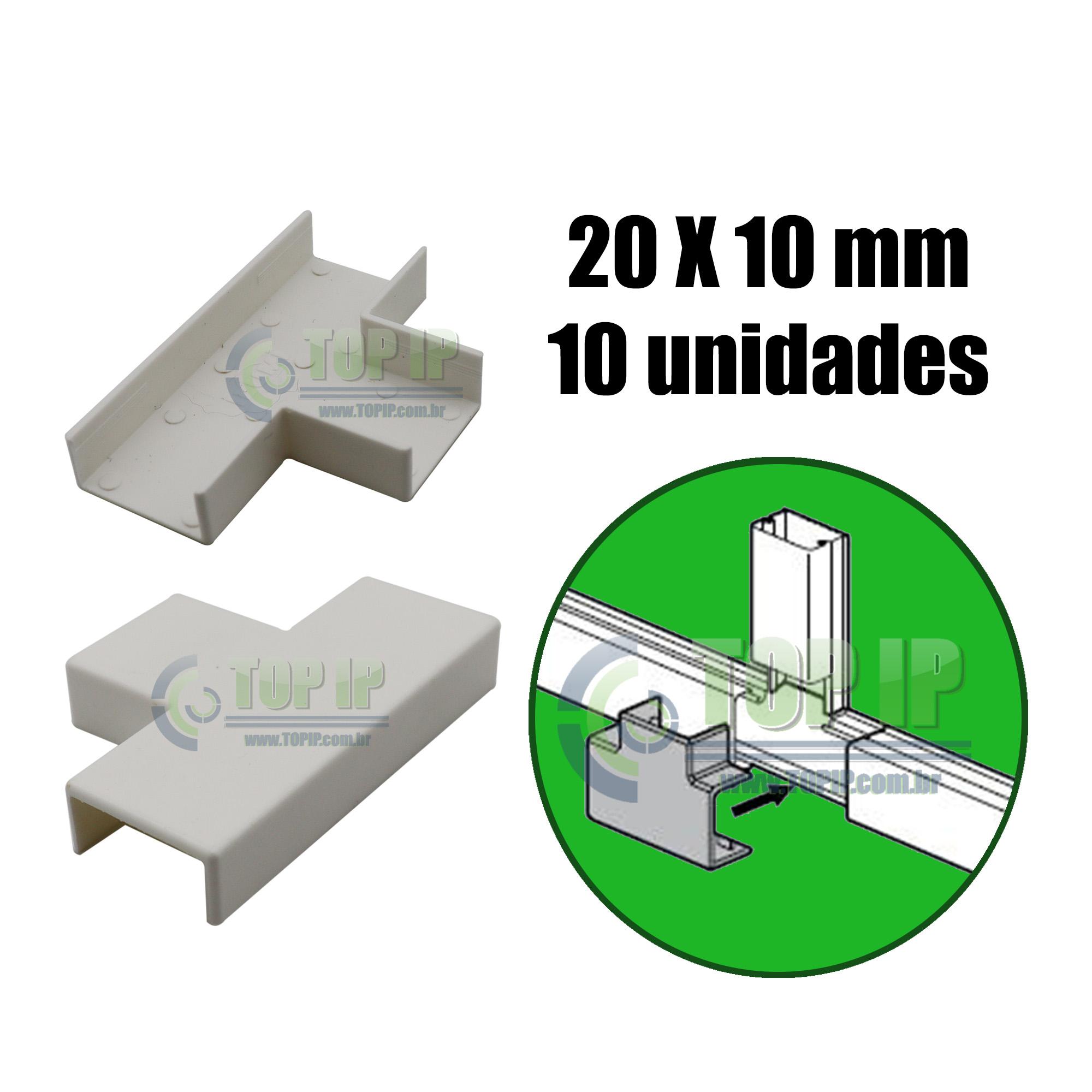 Te P/ Canaleta 20x10mm Sistema X Branco C/ 10 Unidades