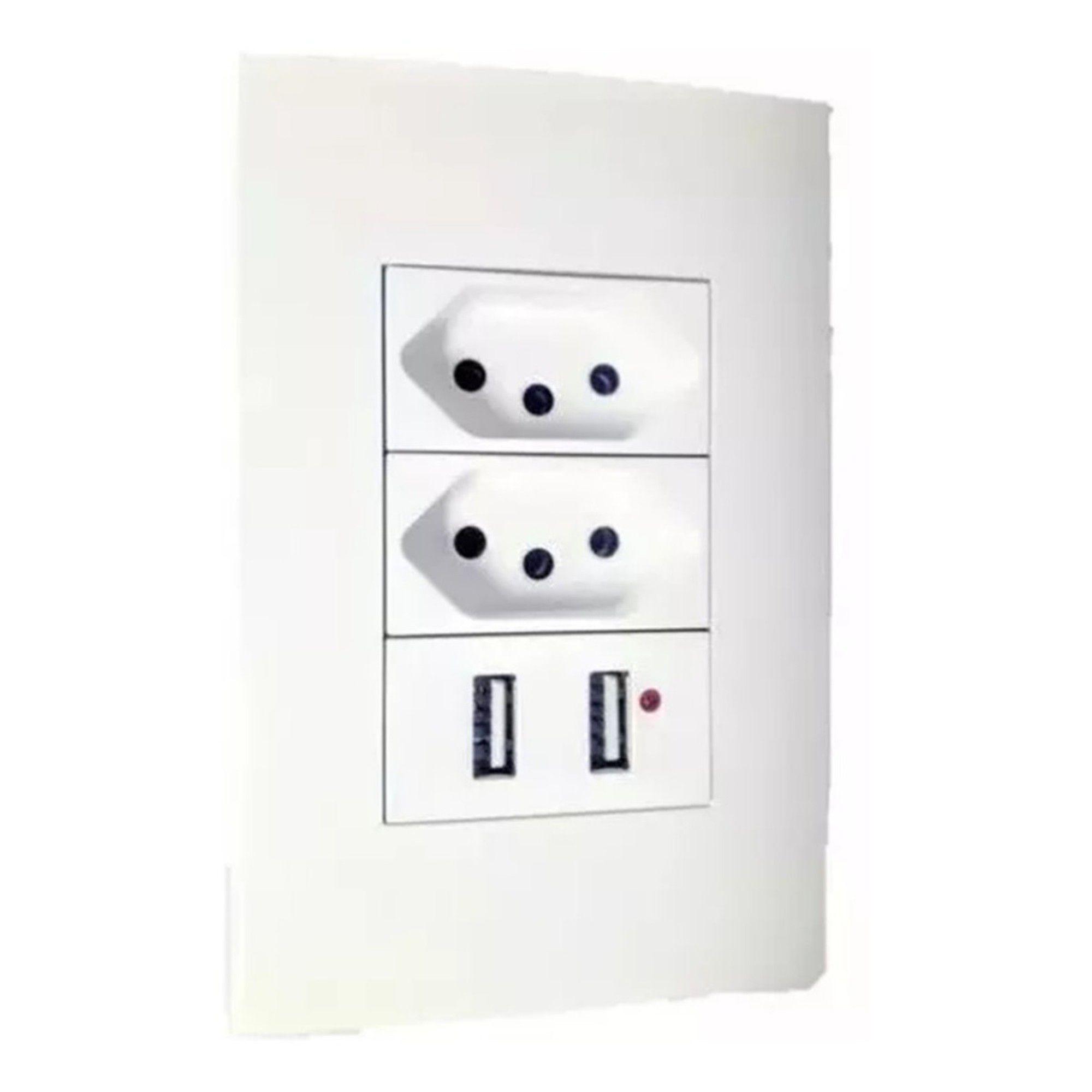 Tomada de Parede 4x2 C/ Usb Duo 1 Interruptor 1 Tomada 2 Usb