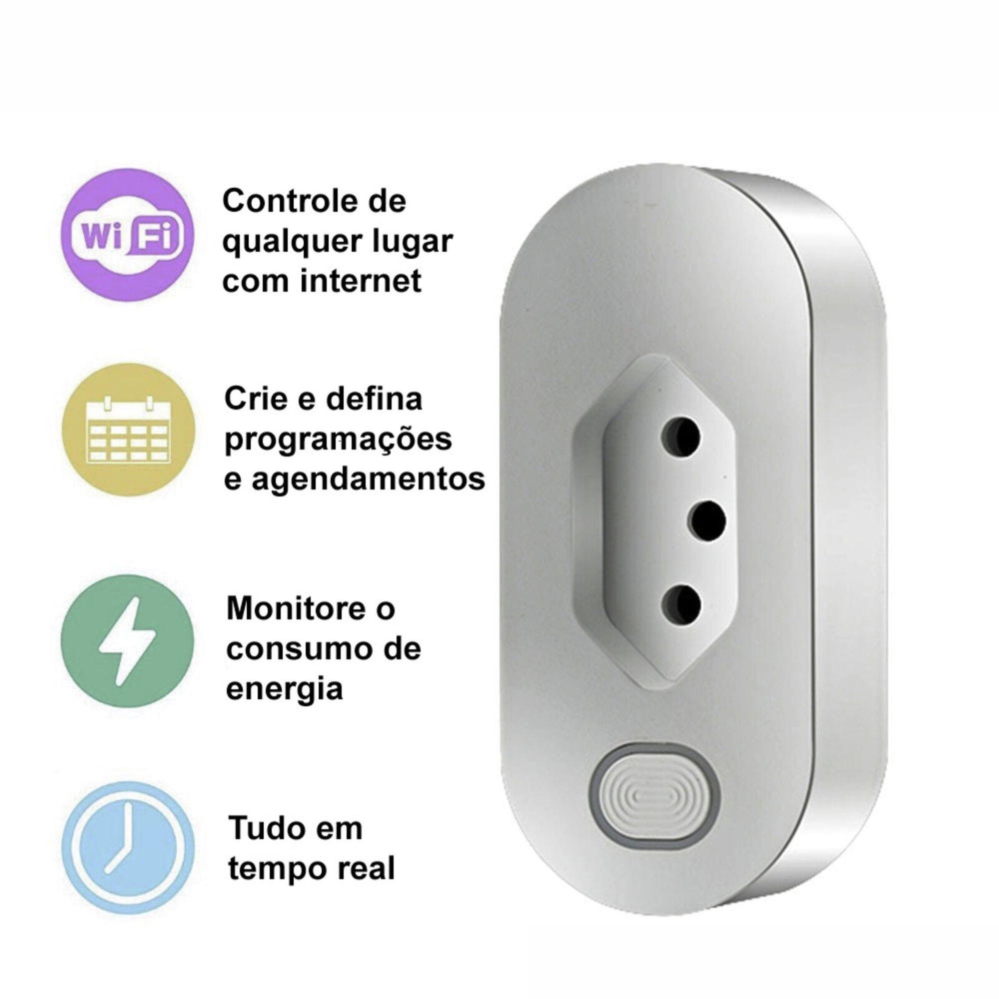 Tomada Inteligente Wi-Fi Smart Plug Compatível C/ Google e Alexa