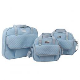 KIT Mala + Bolsa Maternidade + Frasqueira Lovely Hey Baby Azul