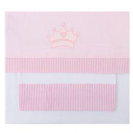 Lençol de Berço Coroa Rosa - 3 pçs - Just Baby