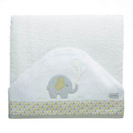 Toalha de Banho Felpuda Dupla c/ Capuz e fralda Elefante Just Baby
