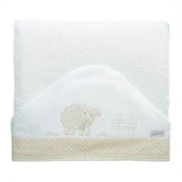 Toalha de Banho Felpuda Dupla c/ Capuz e fralda Ovelhas Just Baby