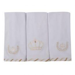 Toalha de Boca Malha Coroa Ramos - 3 pçs - Just Baby