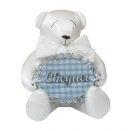 Urso Maternidade Branco c/azul - Just Baby