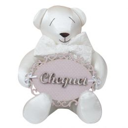 Urso Maternidade Branco c/rosa - Just Baby