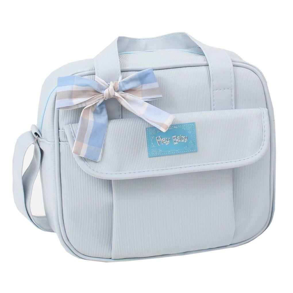 Kit Bolsa Maternidade + Frasqueira + Porta Mamadeira Canelada Hey Baby Azul