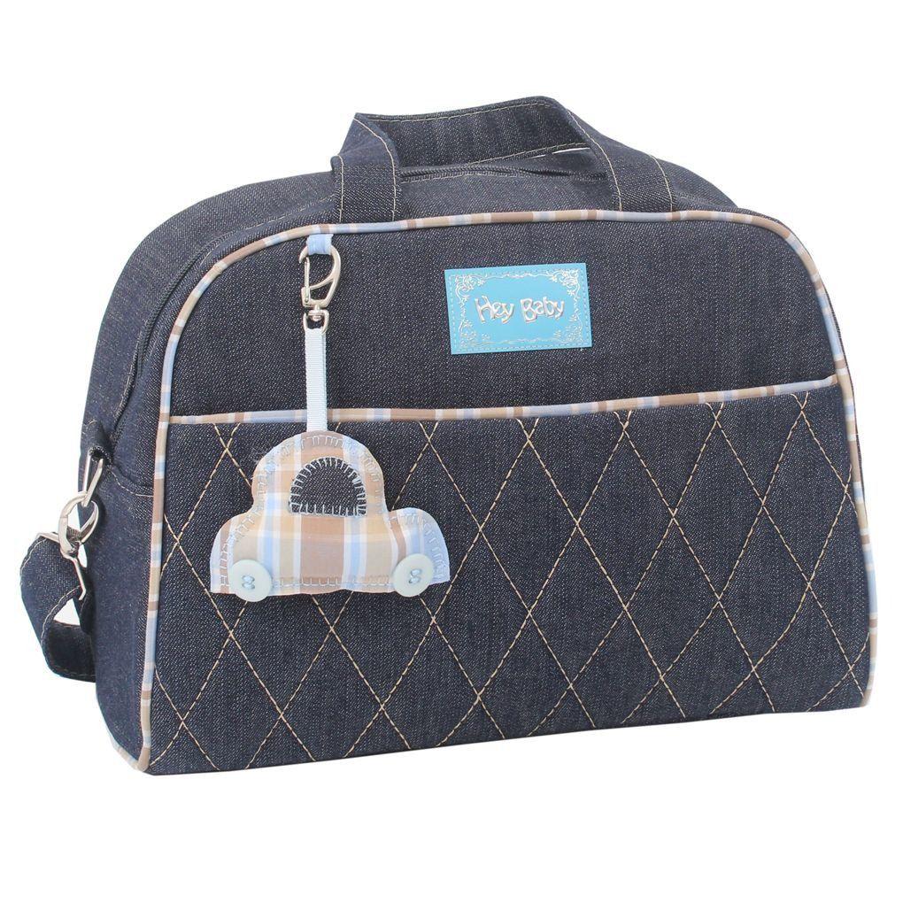 Kit Mala + Bolsa Maternidade + Frasqueira Jeans Chaveiro Hey Baby Azul