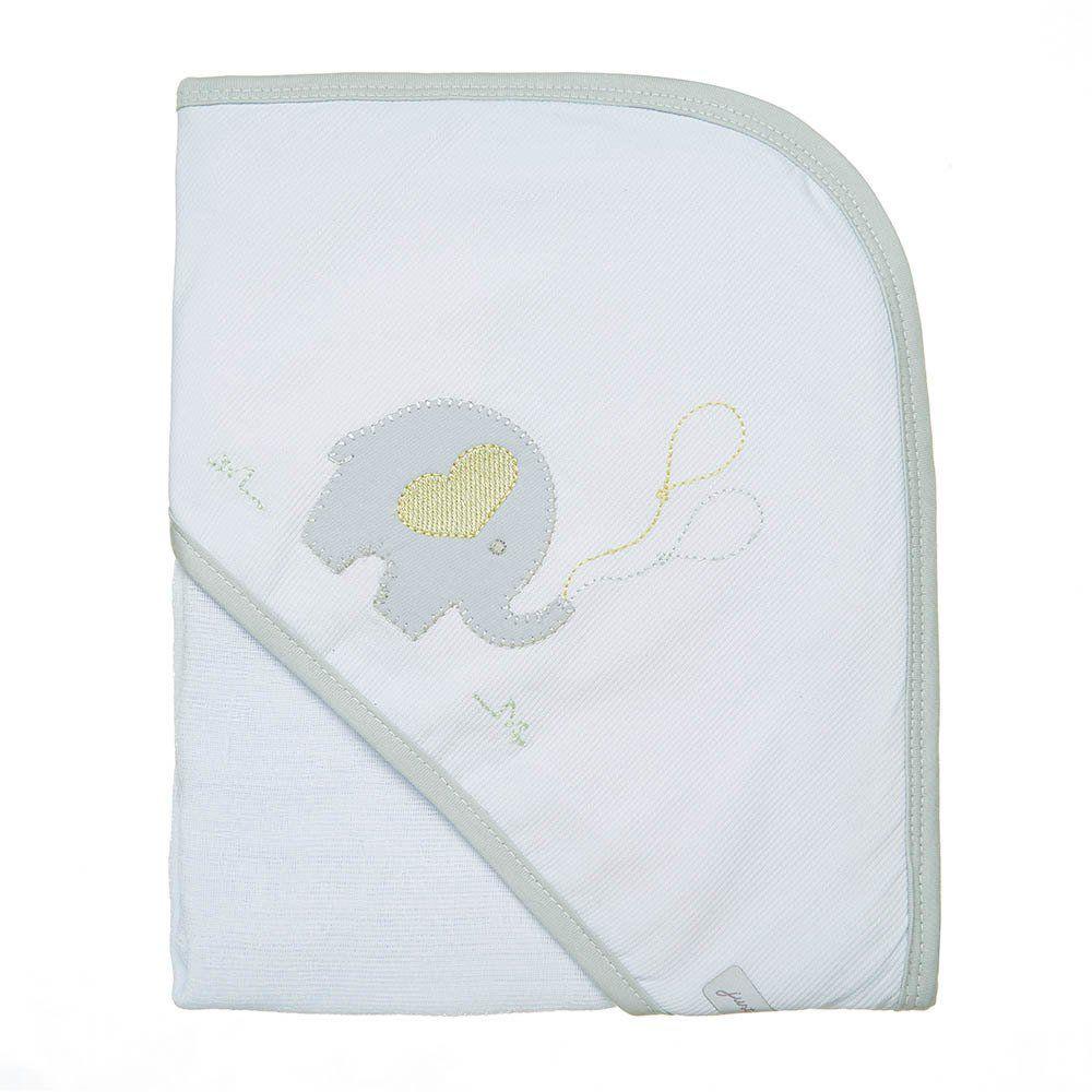 Toalha de Banho Fralda c/ Capuz Elefante Just Baby