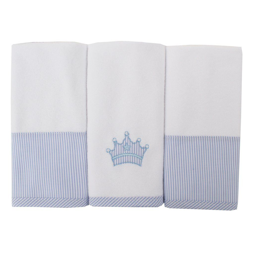 Toalha de Boca Atoalhada Coroa Azul - 3 pçs - Just Baby