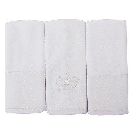 Toalha de Boca Atoalhada Coroa Branco - 3 pçs - Just Baby