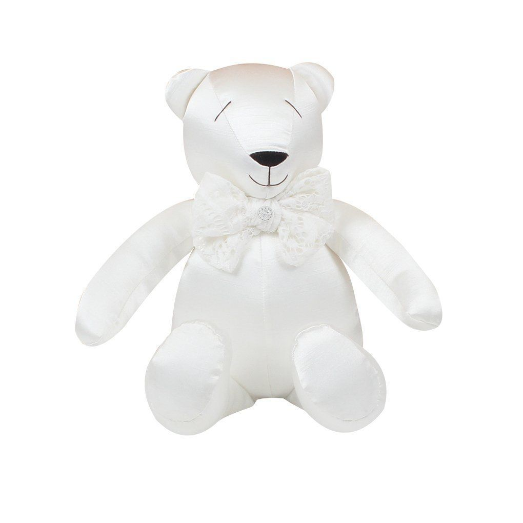 Urso Decorativo M Shantung Branco - Just Baby