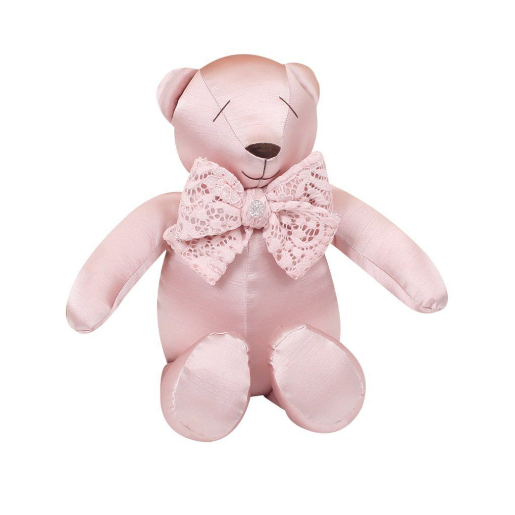 Urso Decorativo M Shantung Rosa - Just Baby