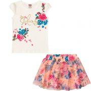 Conjunto Infantil Feminino Baby Look e Saia Shorts BG/G22086*