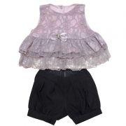 Conjunto Infantil Feminino Bata de Renda e Shorts WB746*