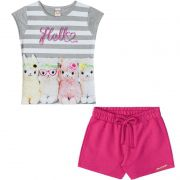 Conjunto Infantil Feminino Hello Baby Look e Shorts BG13710