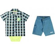 Conjunto Infantil Masculino Xadrez Camisa e Bermuda BG17770*