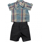 Conjunto Infantil Menino Verão Xadrez Ki-Baby 994