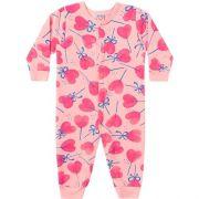 Macacão Pijama Infantil Feminino Moletom Felpado Estampado BG12541*