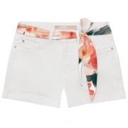 Shorts Sarja com Elastano Off White Feminino Lez a Lez 2271