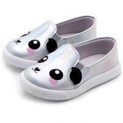Tênis Infantil Feminino Slip On Pesh Panda Holográfico P0135*