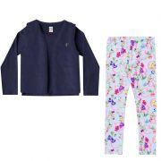 Conjunto Infantil Feminino Baby Look, Legging e Colete de Pêlo BG/G 42441