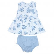 Vestido Infantil Feminino Liberty Azul Bebê Mini Baby MB03010280