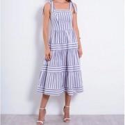 Vestido Richini Midi Tricoline Listrado Feminino Richini