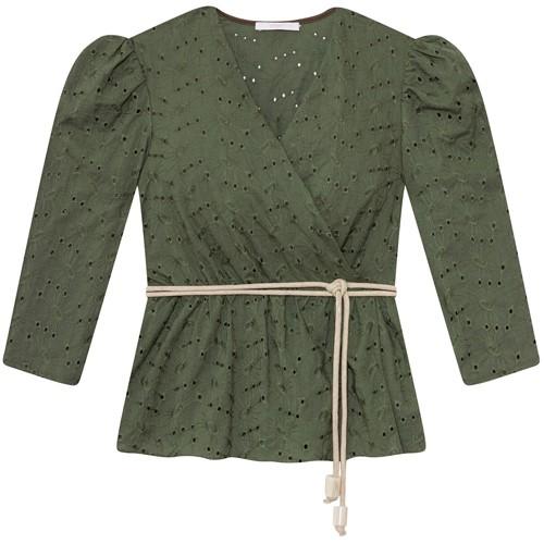 Blusa Feminina Tecido Laise Flores Verde Clorofila Lez a Lez 2422L