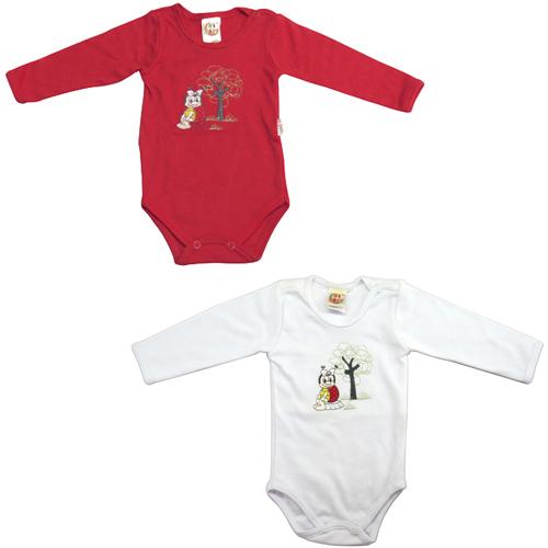 Body Bebê Menina Manga Longa Kit cm 2 peças Ki-Baby KB199