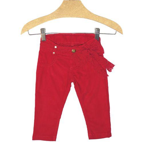 Calça Infantil Feminina Cotele Vermelha Kidin´s KD4354*