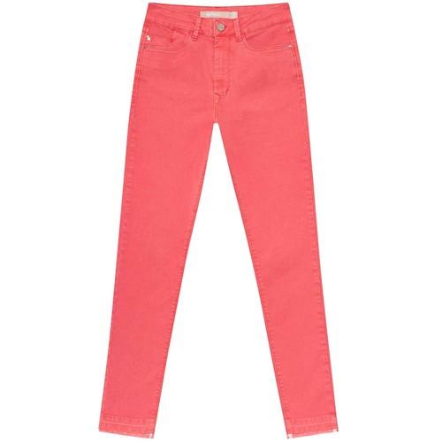 Calça Jeans Com Elastano Cropped Aruba Salmao Coral Feminina Lez a Lez 2202L