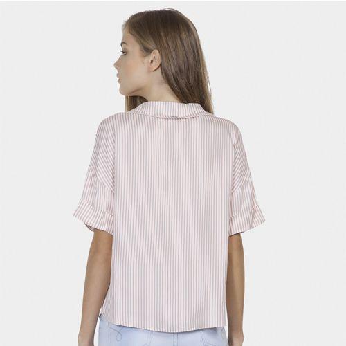 Camisa Listrada com Bordado Tecido Rosa Apricot Lez a Lez LZ711