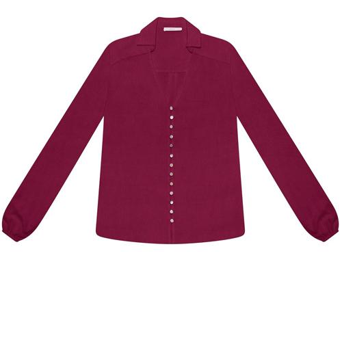 Camisa Manga Longa Ampla Bordo Helado Feminina Lez a Lez 1859