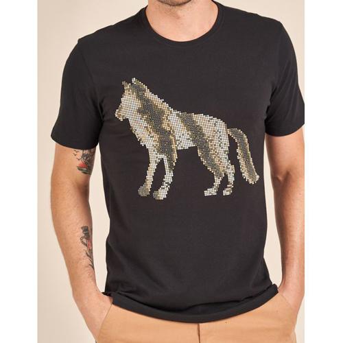 Camiseta Acostamento Casual Estampa Wolf Dots