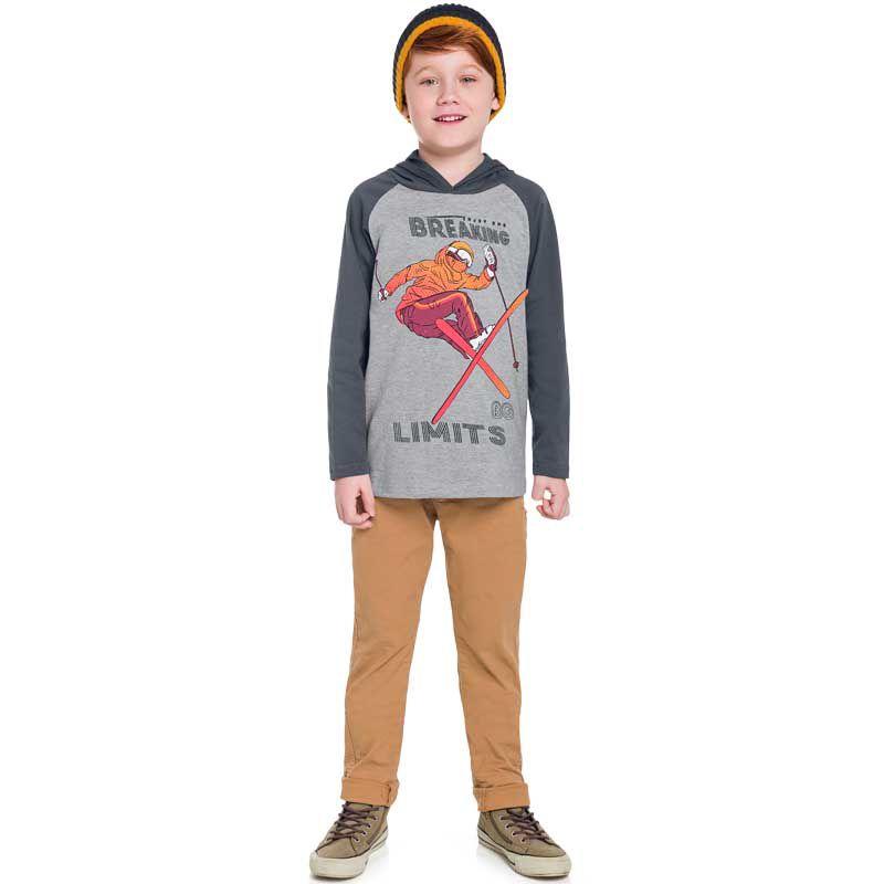 Camiseta Infantil Masculina Manga Longa com Capuz BG45995*