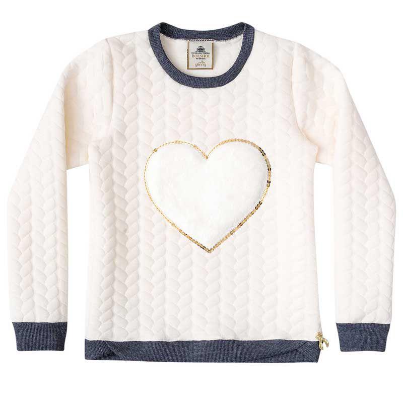 Casaco Infantil Feminino Blusão Jacquard Coração BG51224